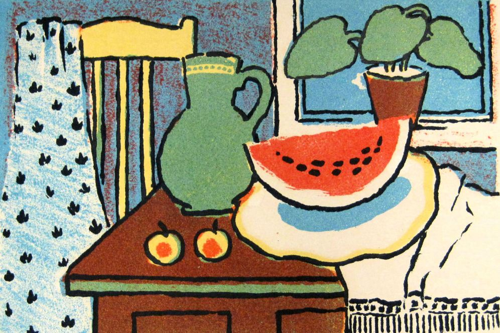 Alexander Vedernikov (Russian, 1898-1975), Untitled (Still Life), ca. 1960, lithograph, 5 x 7 inches. The Art Collection at Hebrew Home at Riverdale.