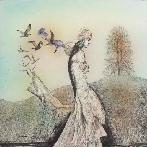 Katarína Vavrová, Untitled (Smutenka I), 2014, hand-colored etching, 17 ¾ x 19 ¼ inches. Courtesy of KADS New York and the artist.