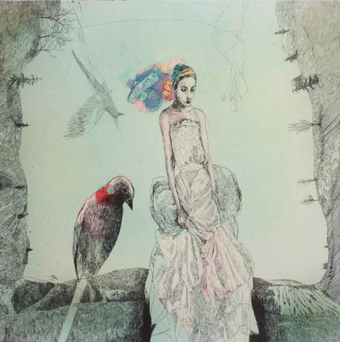 Katarína Vavrová, Untitled (Smutenka II), 2014, hand-colored etching, 17 ¾ x 19 ¼ inches. Courtesy of KADS New York and the artist.