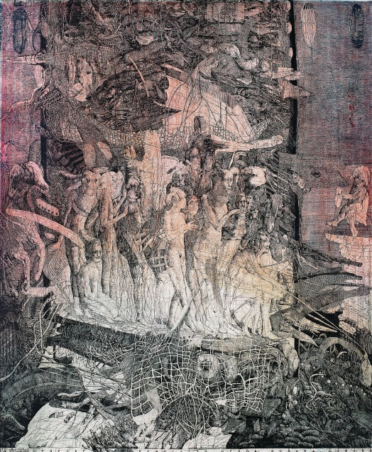 Dušan Kállay, Props of the Actor Dusan Hanak, 1986, color etching and drypoint, 31 3/8 x 25 5/8 inches. Courtesy of KADS New York and the artist.