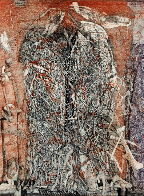 Dušan Kállay, Encounter of Labyrinths, 1998, color etching, 31 3/8 x 23 ½ inches. Courtesy of KADS New York and the artist.