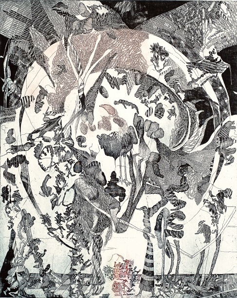 Kamila Štanclová Dance with the Wolves II, 2012 Color etching 31 ½ x 23 3/8 inches. Courtesy of KADS New York and the artist.