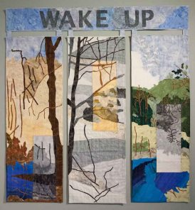 Rachel Kanter (born in Creve Coeur, MO, 1970; lives and works in Montclair, NJ), Wake Up, 2017, Commercial cotton, vintage prayer shawls (tallitot), vintage feed sacks, 51 x 49 in.