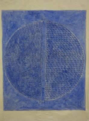 Jane Logemann (born in Milwaukee, WI, 1942; lives and works in New York City), Water-Hebrew/Water-Arabic, 2017Ink and oil on muslin, 30 ¼ x 19 1/8 in.