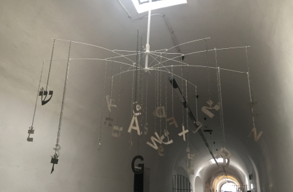 Aviva Shemer (born in Haifa, Israel, 1942; lives and works in Haifa, Israel), The Moral Victory, 2017, Steel letters on wire, dimensions variable